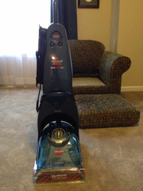 Our BISSELL ProHeat 2X Upright Deep Carpet Cleaner that is used for cleaning carpets and upholstery.