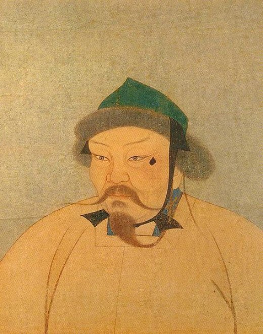 Genghis' son and successor Ogedai Khan, whose death in 1241 halted the Mongol advance into Europe.