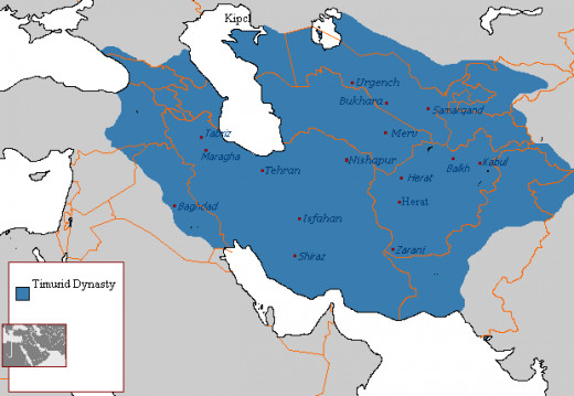 A map showing the area ruled over by the Timurid dynasty.
