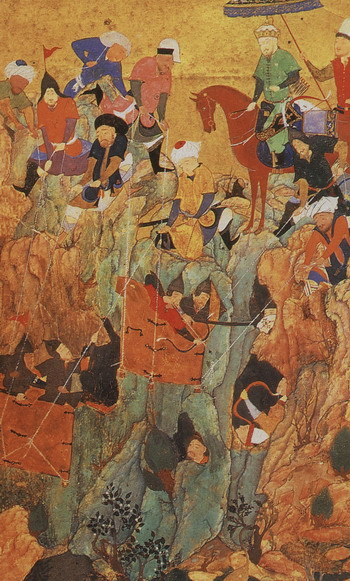 Timur's army attacks the survivors of the town of Nerges, in Georgia.