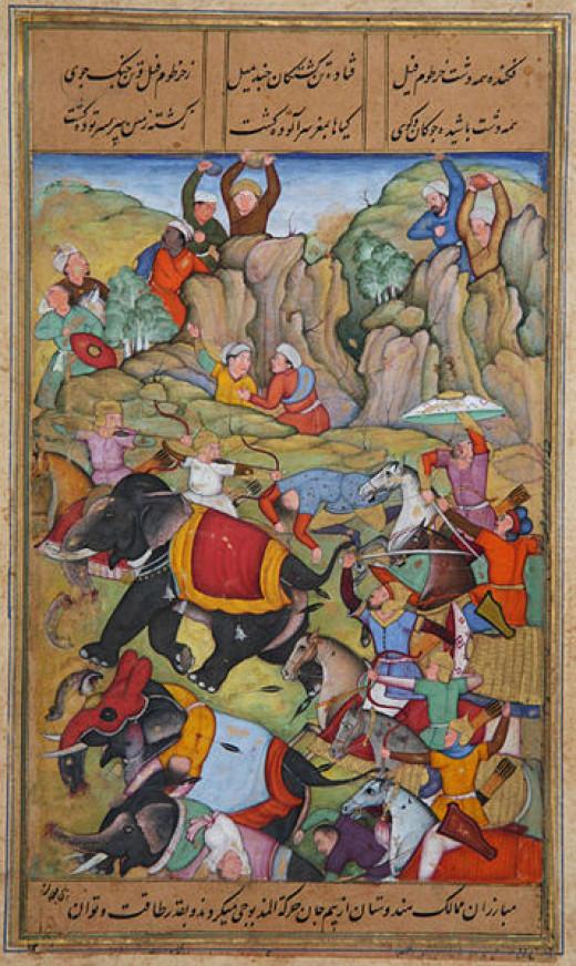 Timur Lenk defeating the Sultan of Delhi, Nasir Al-Din Mahmud Tughluq in the winter of 1397/98.