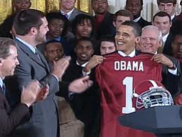 Obama receives his own Crimson Tide Jersey