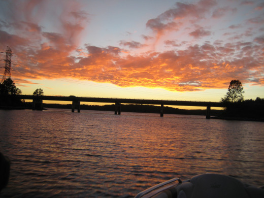 A Bridge at sunset over Lake Keowee.