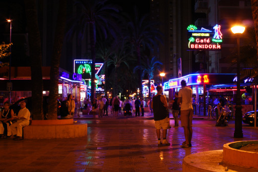 Benidorm's night time café bar area is popular whatever time of night you go there this is 1 minute to midnight