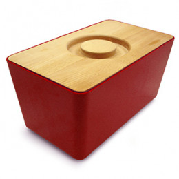Red bread bin with beech lid