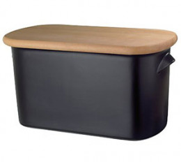 Classic bread bin in black with a beech lid