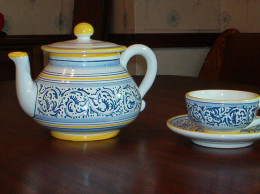 A teapot and saucer set helps make a beautiful team time look.