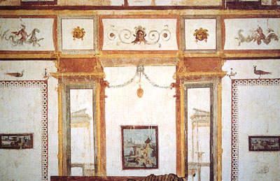 Fresco at Nero's Palace showing example of grottesche design the like of which was recreated in Renaissance Era design