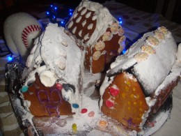 Put your gingerbread village together