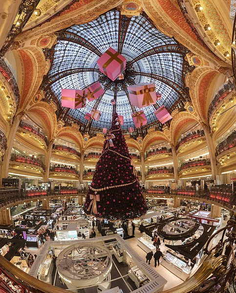 Dome and balconies of Galeries Lafayette department store, ladies section,  Boulevard Haussmann, Paris, with Christmas decorations. This picture has a 170° field of view.