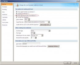 Excel Options - Show Developer Tab