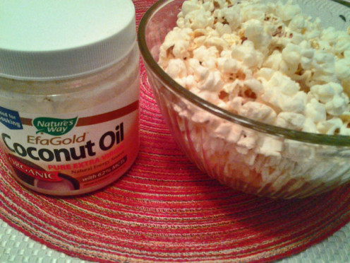 Popcorn made with coconut oil