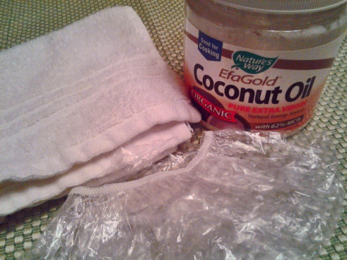 Coconut Oil, Shower cap and washcloth.