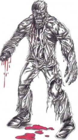 The zombie has no hand but he cannot reliev himself, so he will have to eat someones brain instead.