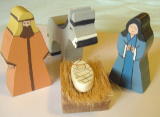 Mary, Joseph, Baby Jesus and the donkey