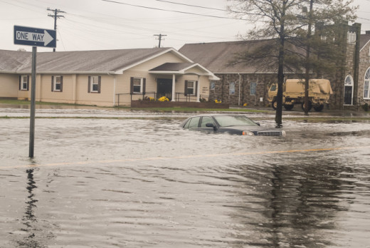 Flooding in Maryland during Superstorm Sandy, 2012. Government responded well after the disaster. But infrastructure improvements before the storm could have prevented lots of damage that did occur.