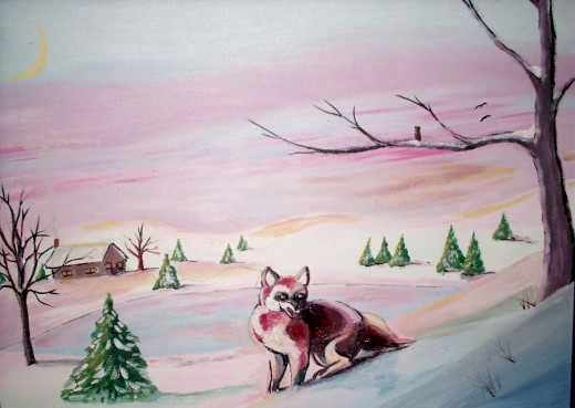 a little fox takes pause, on a Christmas morning