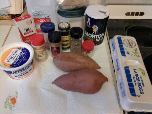 Needed ingredients for sweet potato pie