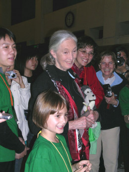 Dr. Jane Goodall listening to volunteers about their group of Root & Shoots, her international organization for sustainable life for indigenous people, endangered animals, and us all.
