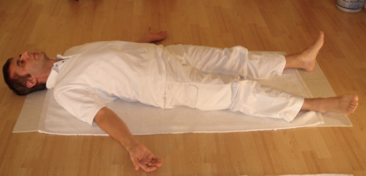 Savasana or Corpse Pose is a yogic relaxation pose.