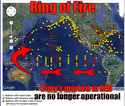 Notice the large amount of ocean buoy's no longer operational in the Ring of Fire, this is no accident.