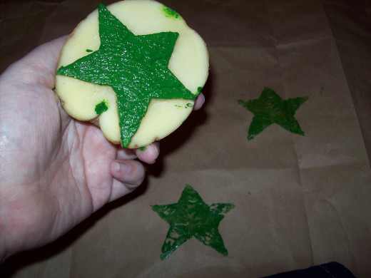 Star Potato Stamp And Paper