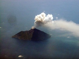 Batu Tara in the Banda Sea continues to erupt and send ash plumes skyward.