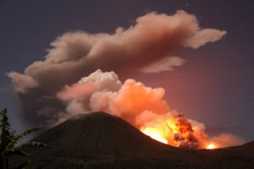 Another active volcano in the Ring of Fire near Indonesia.