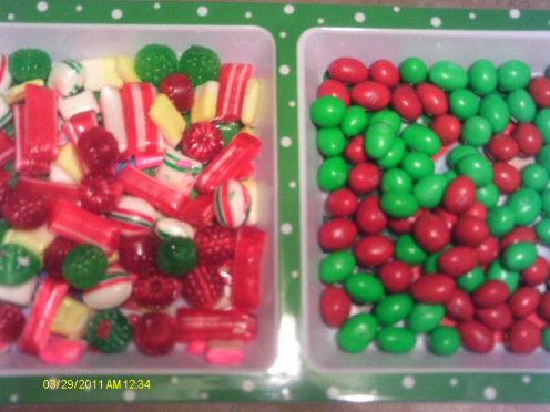 Mixed candy and M & M's