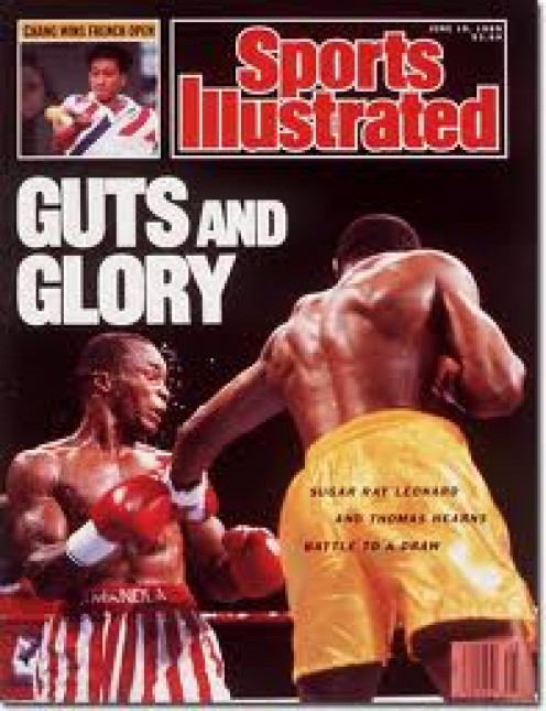 Sugar Ray Leonard and Tommy Hearns on the cover of Sports Illustrated 1989. The pair fought twice with Leonard getting a knockout win and a draw.