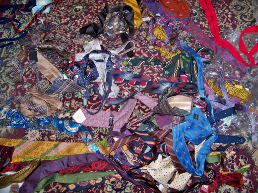 These ties, and many more, were purchased from thrift stores to be used in quilts.