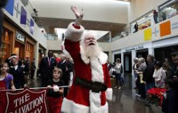 Santa works for the Salvation Army, too.