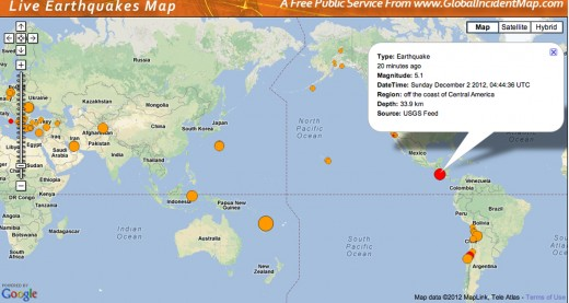 Two large earthquakes (5.1) of the western coast of Central America 12-2-2012.