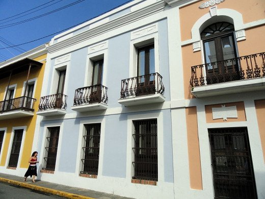 These buildings in Old San Juan were photographed by Daderot on October 22, 2011.
