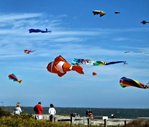 A kite flying contest over Hilton Head Island, South Carolina. This is one of many activities you may find as you explore the island.