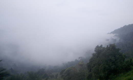 Early morning: Mist shrouded mountains of Kadugannawa.
