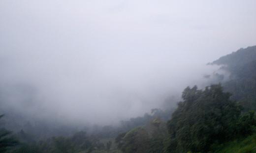 Early morning: Mist shrouded mountains of Kadugannawa.