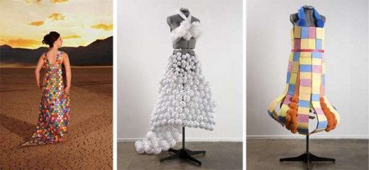Dresses made out of casino chips, wiffle balls and whatever this other one is made of, oh my!