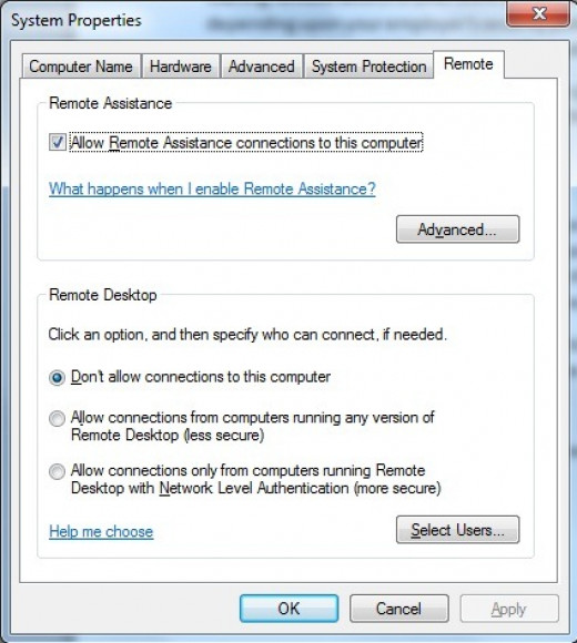 Windows Remote Desktop Configuration Screen