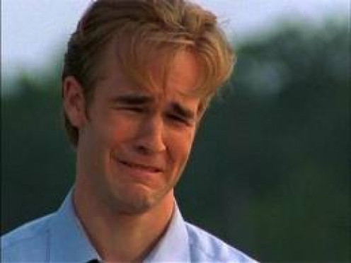 "JAMES VAN DER BEEK OF ""DAWSON'S CREEK,"" SHEDS TEARS TO PROVE HE IS SENSITIVE."