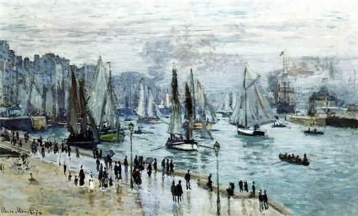Fishing Boats Leaving the Harbor, Le Havre by Claude Monet (1840-1926)