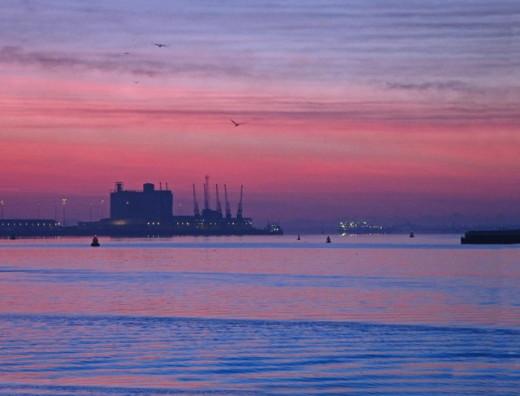 Southampton docks 20 mins before sunrise,  taken from the dock side.