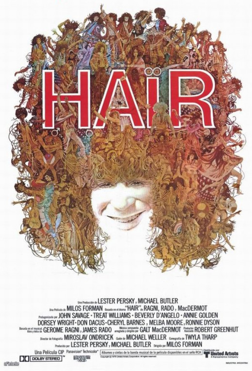 Hair (1979) art by Ted Coconis. Spanish poster