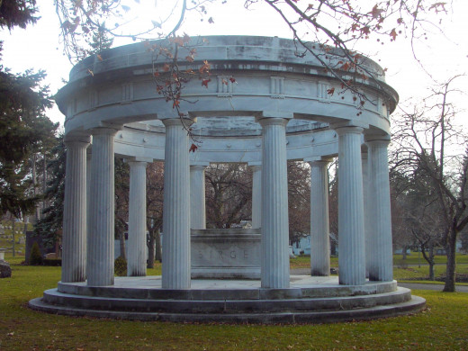 Birge Memorial:  George K. Birge, long identified with Buffalo industrial progress, nationally known manufacture of wallpaper and a leader in the automobile industry.  It is a replica based on Greek architecture.