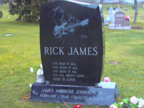 Final resting place of Rick James.  (February 1, 1948 - August 6, 2004) Rick James' real name is James Ambrose Johnson, Jr.  He was born and raised in Buffalo, New York. Other notables:  John J. Albright, Developer and Millard Fillmore, President