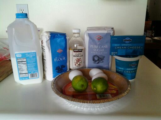 Needed ingredients for lime cheescake. The milk will only be needed if batter gets TOO thick.