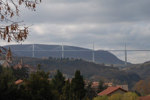 First glimpse of the Millau Viaduct as we leave Millau itself