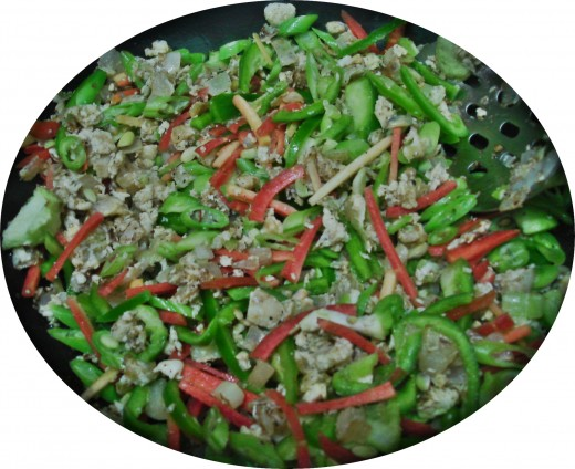 Mixed Vegetables & Eggs while being cooked
