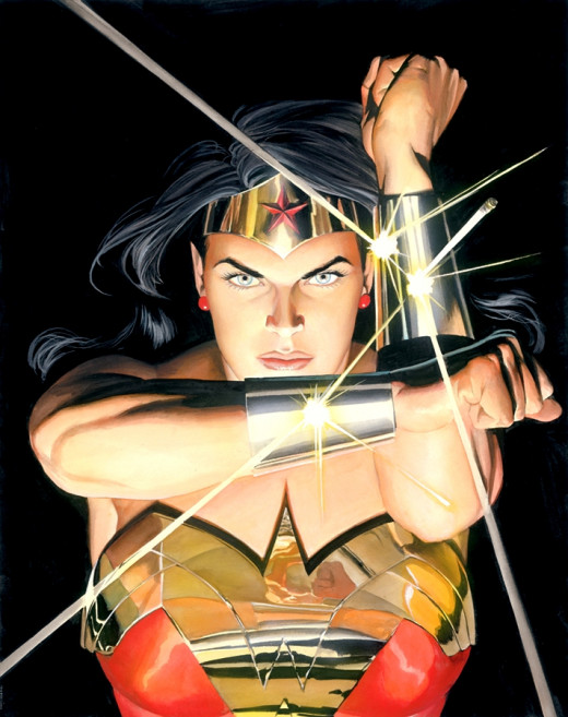 Painting by Alex Ross.  It's interesting to study his interpretation of WW.  There is not much that's genteel about this character's face.