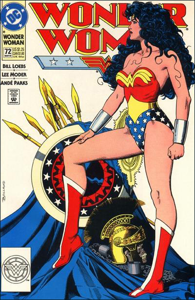 This cover by Jim Ballard(?) emphasizes Wonder Woman's musculature but not at the sacrifice of femininity or beauty.  Her face is less stern than the one by Alex Ross.  She also has great hair.